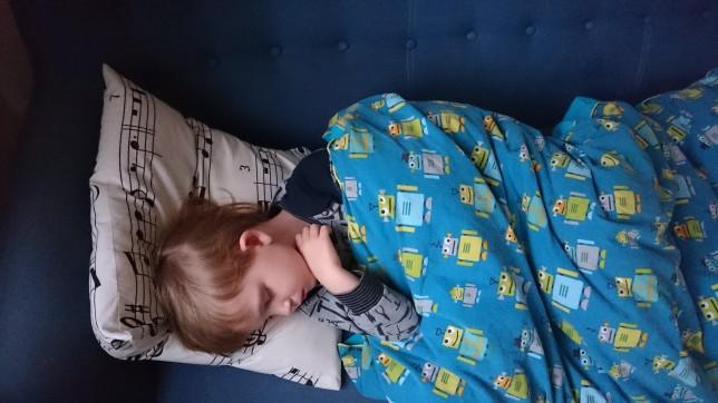 Magne sover i sofaen