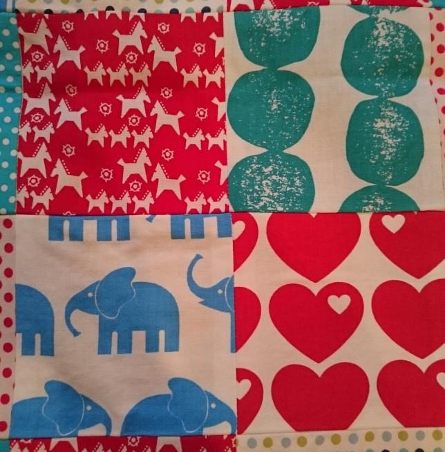 patchwork tæppe til baby firkanter