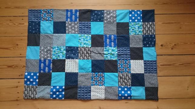 Patchwork tæppe blåt hele tæppet
