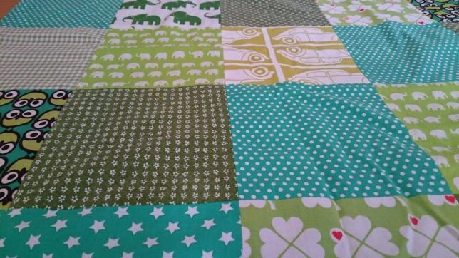 babytæppe patchwork grønt